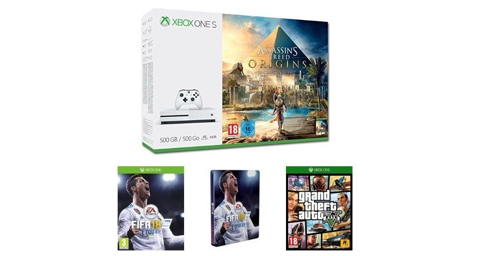 Bon Plan Noël : Pack Xbox One S avec Assassin's Creed Origins + FIFA  18 + GTA V + Steelbook FIFA à 249,99 euros