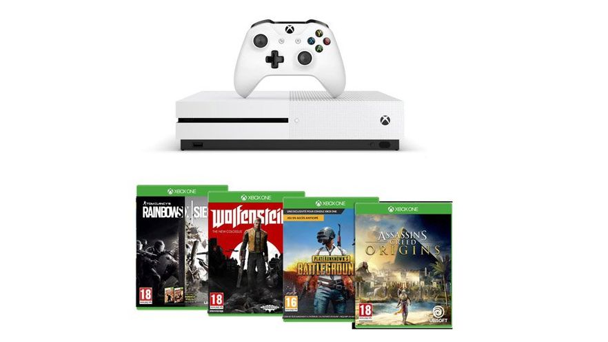 Bon Plan Noël : Pack Xbox One S avec PUBG + Assassin's Creed Origins + Wolfenstein 2 + ... à 299 euros !