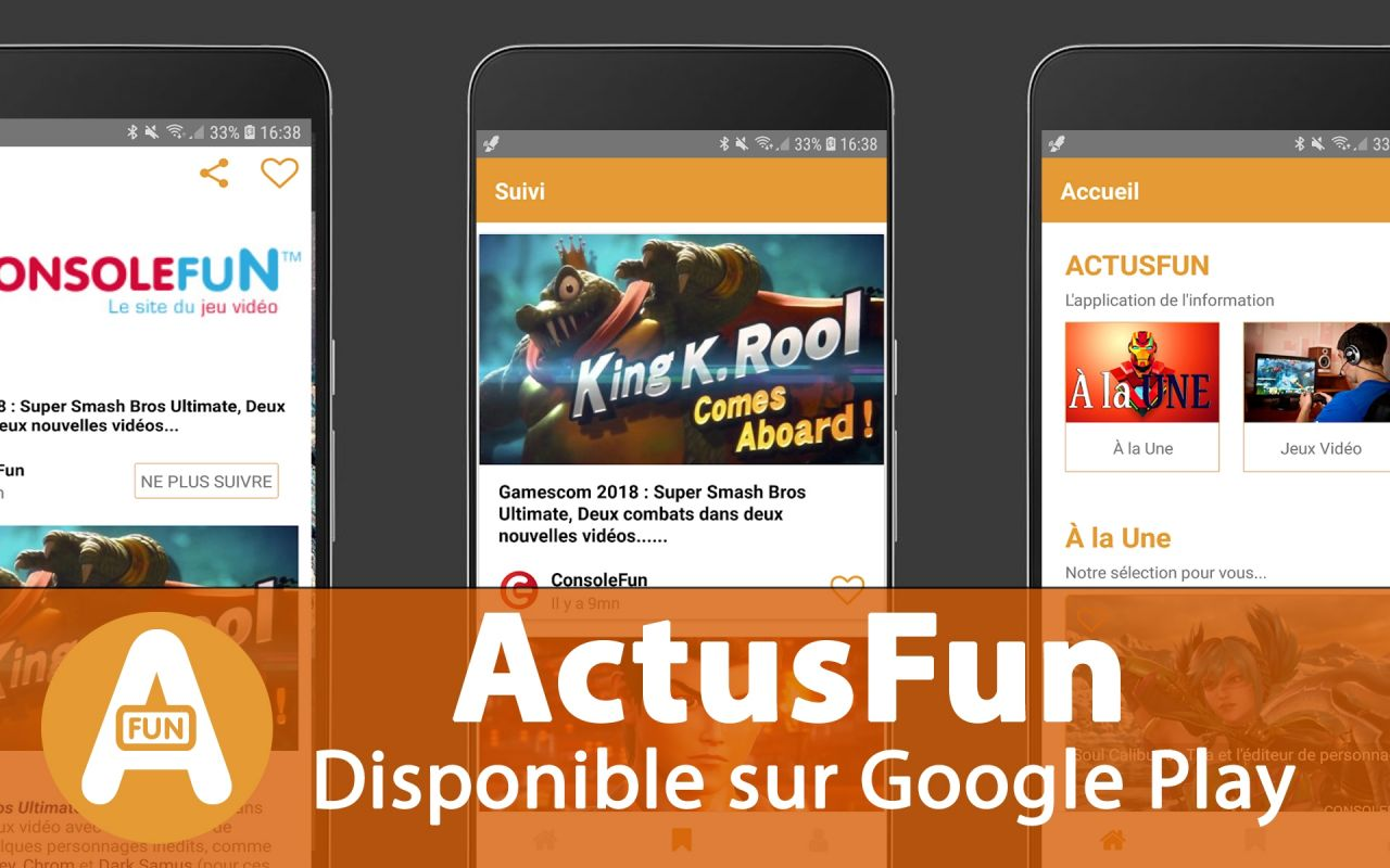 ActusFun : La première image de la version iOS de l'application (iPhone)
