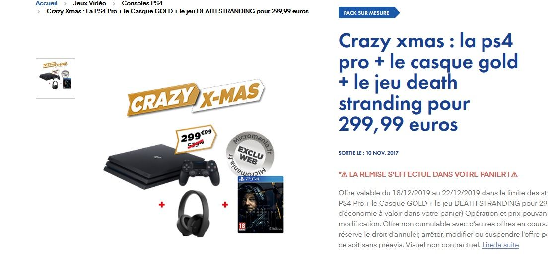 Bon Plan : PS4 PRO 1To + Death Stranding + Casque GOLD Officiel PS4 à 299,99 euros (au lieu de 439,99...)