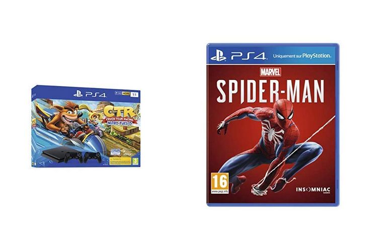 Bon Plan : Console PS4 Slim 1 To avec Crash Team Racing et 2nd Dual Shock 4 + Marvel's Spider-Man