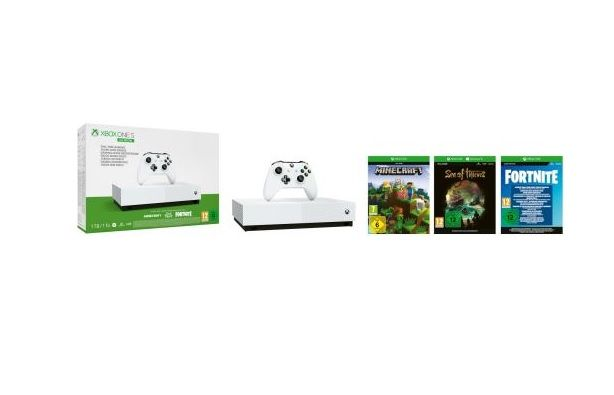 Bon Plan NOEL : Pack Console Xbox One S All Digital 1 To + Minecraft + Sea of Thieves + Fortnite + 1 mois de live à 99,99 euros