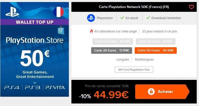 Bon Plan : Carte PSN de 50 euros à 44,99 euros (pour le store PS4) !
