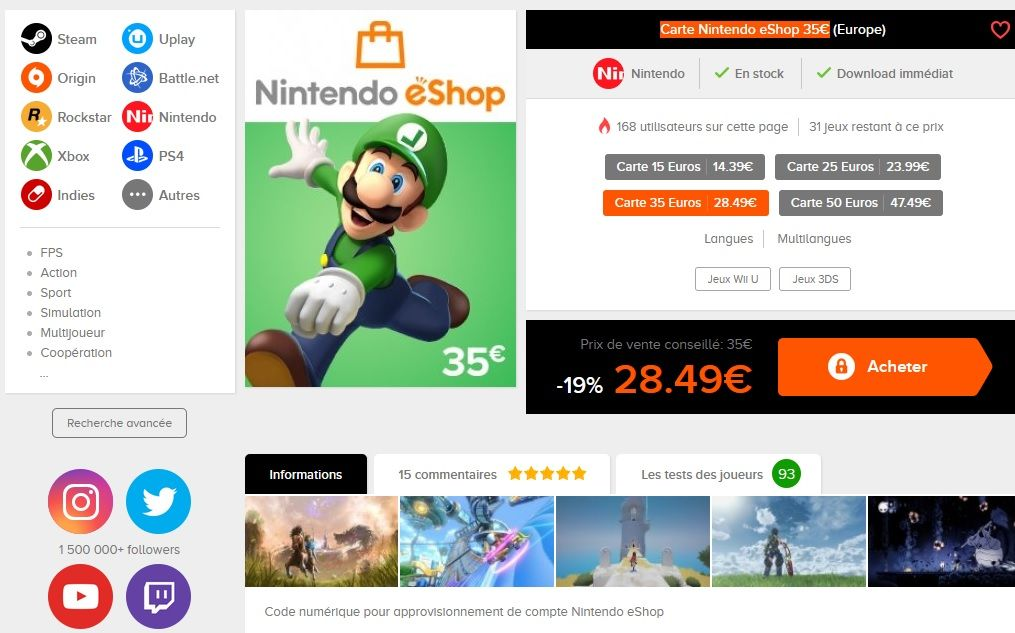 Black Friday : Carte Nintendo eShop de 35 euros à 28,49...