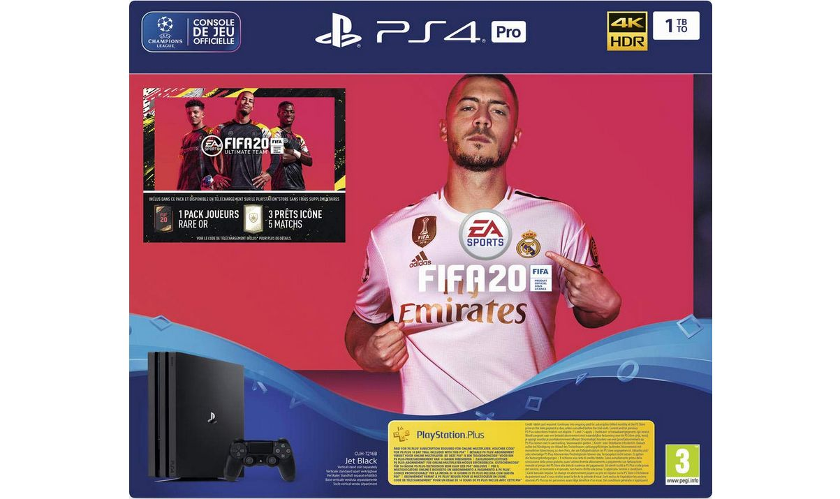 Bon Plan : PS4 PRO 1 To Noir + FIFA 20 + PS Plus 14 jours à 389,99 euros (au lieu de 439,99...)