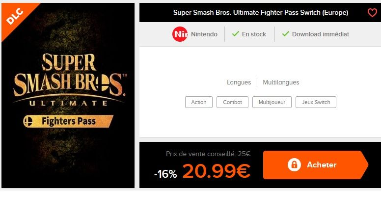 Bon Plan : Super Smash Bros. Ultimate Fighter Pass Switch à 20,99 euros (au lieu de 25...)
