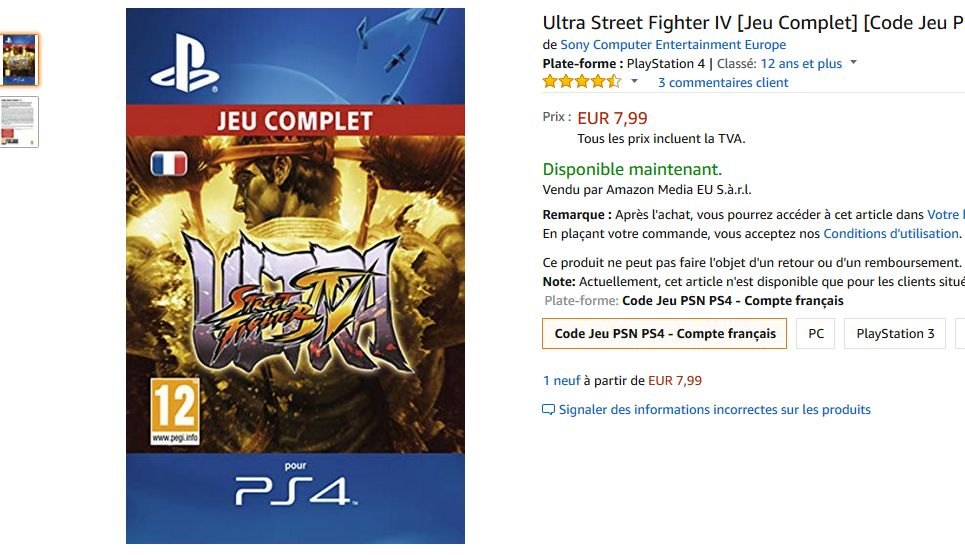 Bon Plan Amazon : Ultra Street Fighter IV sur PS4 à 7,99 euros (au lieu de 24,99...)