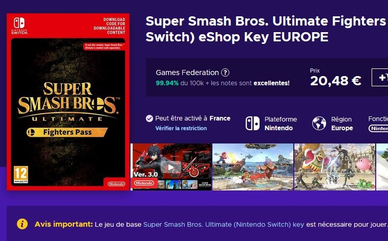 Bon Plan : Super Smash Bros. Ultimate Fighter Pass Switch à 19,87 euros (au lieu de 25...)