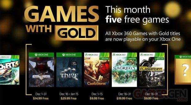 Games With Gold : le programme de décembre 2015