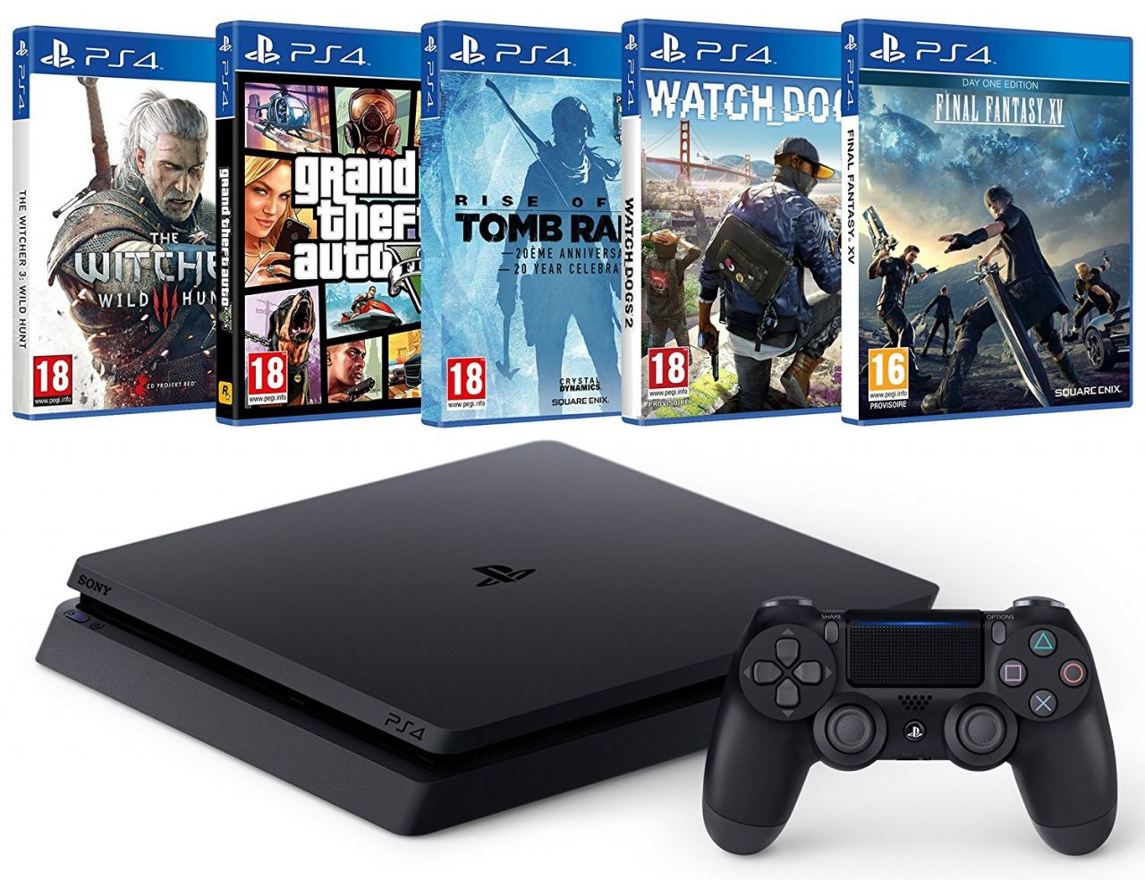 Black Friday Amazon : PS4 Slim + 5 gros jeux (FFXV, Watch Dogs 2...) = 349 euros !