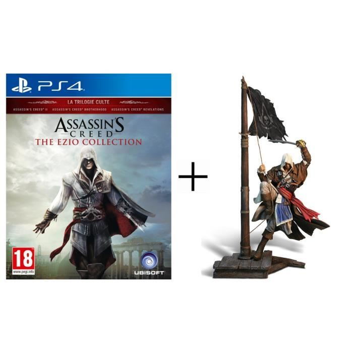 Bon Plan : Pack Assassin's Creed The Ezio Collection Jeu PS4 + Figurine Edward Kenway