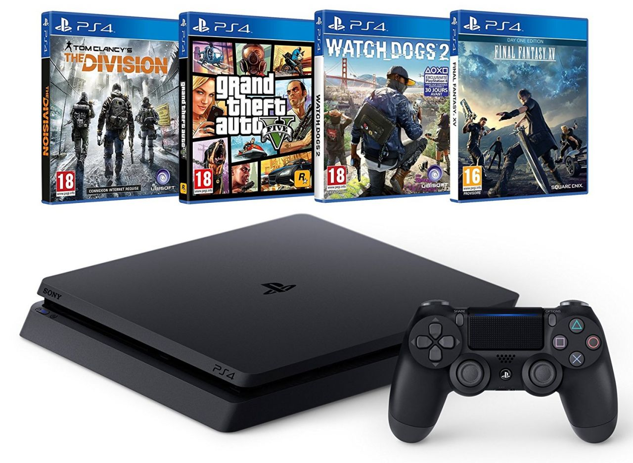 Bon Plan : Pack PS4 Slim + Final Fantasy XV + Watch Dogs 2 + GTA V + The Division à 349,99 euros au lieu de 439...