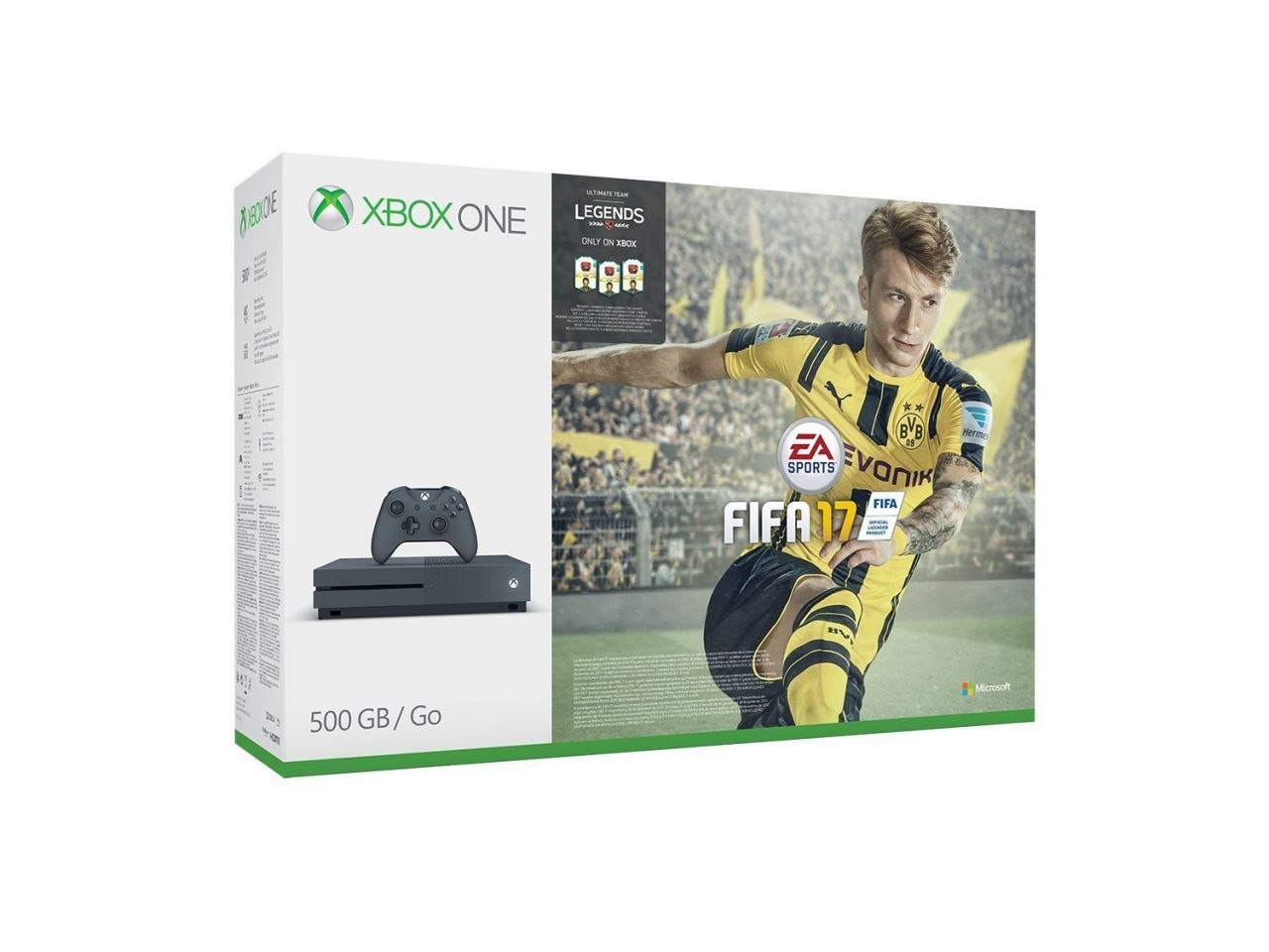 Pack Console Xbox One S 500 Go gris + FIFA 17 + Ea Access 1 Mois - Storm Grey Exclusif Amazon