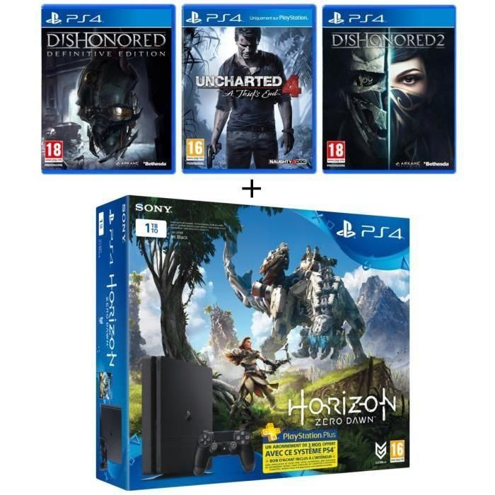 Bon Plan : PS4 Slim 1 To + Horizon Zero Dawn + Uncharted 4 + Dishonored Definitive Edition + Dishonored 2 + 3 mois de PS+ à 319.99 euros