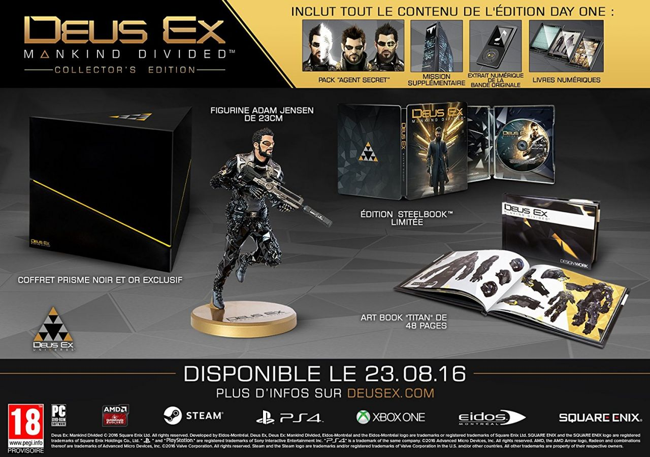 Bon Plan PS4 : Deus Ex Mankind Divided - édition collector à 57,74 euros (au lieu de 129,99...)
