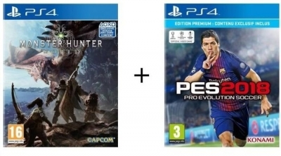 Bon Plan : Pack de 2 Jeux PS4 = Monster Hunter World et PES 2018 Edition Premium D1 à 39,99 euros !