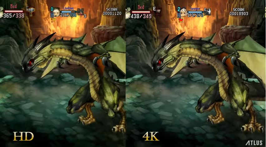 Dragon's Crown Pro : Comparaison graphique entre sa version HD et 4K