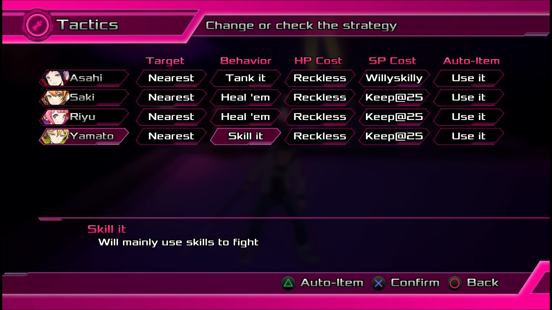 Le menu Tactics très pratique